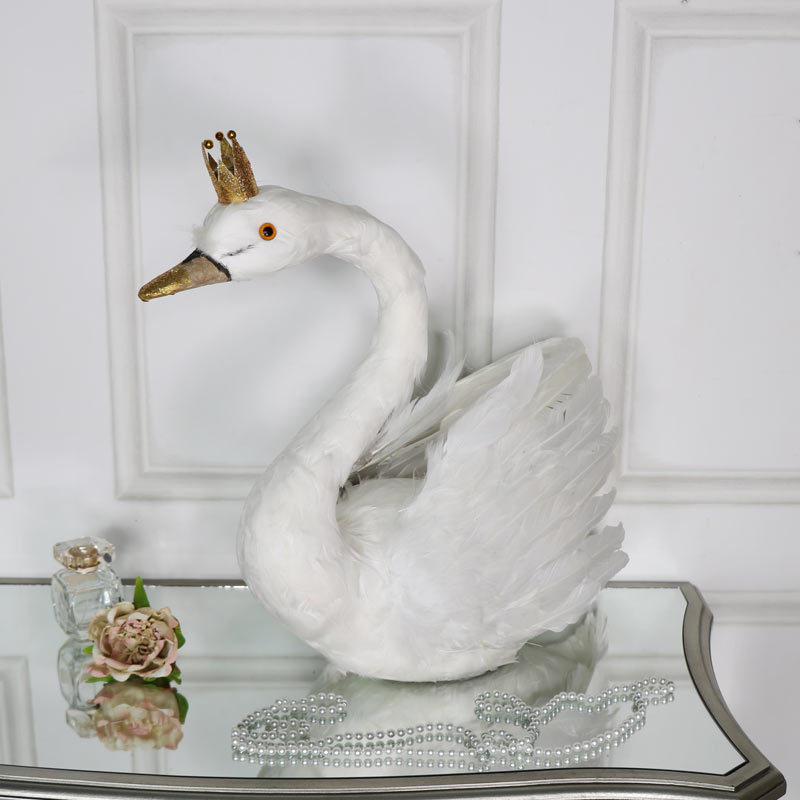 White Feathered Swan with Crown