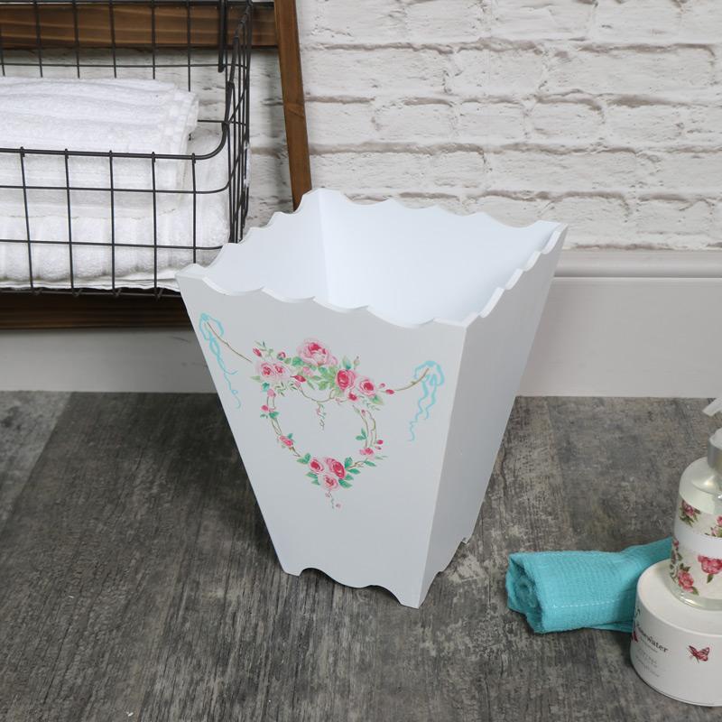 White Wooden Floral Waste Paper Bin