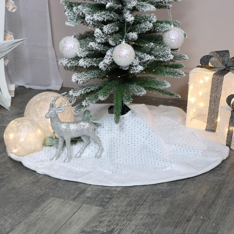White Fur Sequin Christmas Tree Skirt