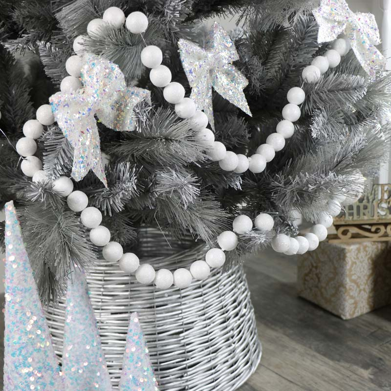 White Glitter Ball Christmas Garland