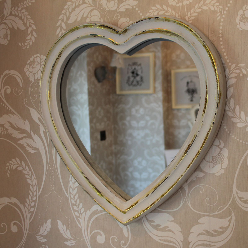 Heart Wall Mirror In White With Gold Distressing Shabby