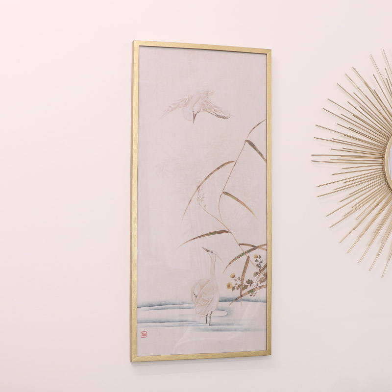 White Heron Gold Framed Picture