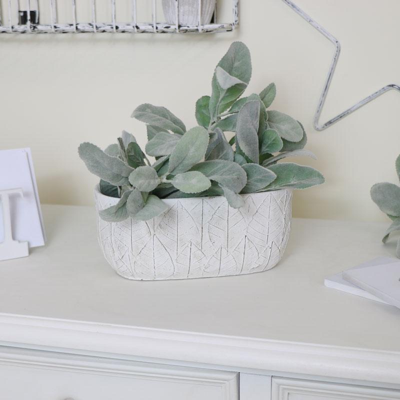 White Leaf Print Planter