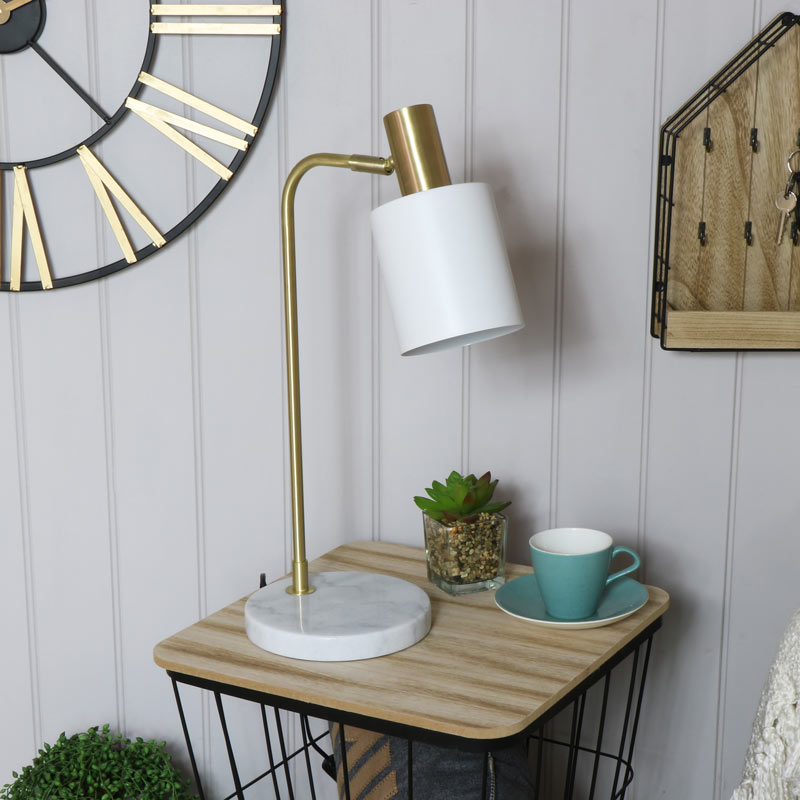White Marble Gold Retro Bedside Table Lamp Vintage Bedroom Living ...