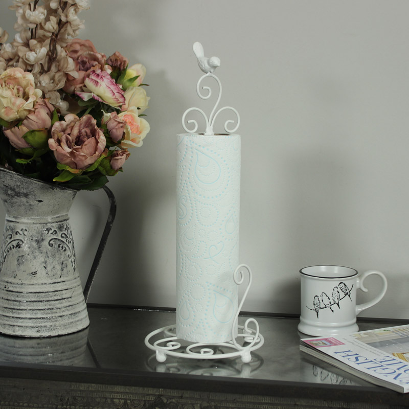 White Metal Bird Kitchen Roll Holder