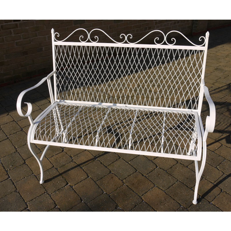White Metal Garden Bench Seat