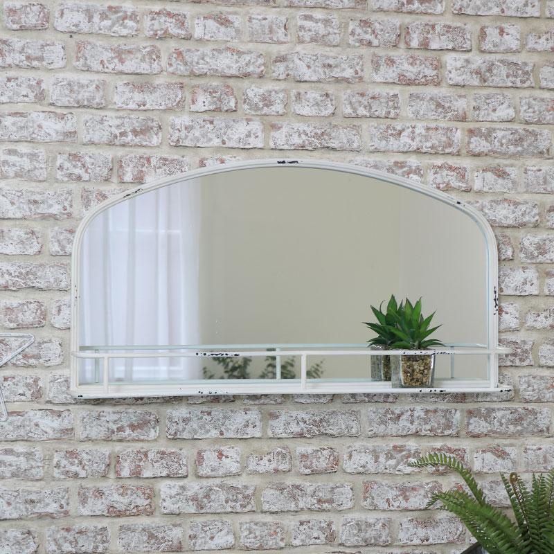 White Metal Mirror with Shelf 80cm x 43cm