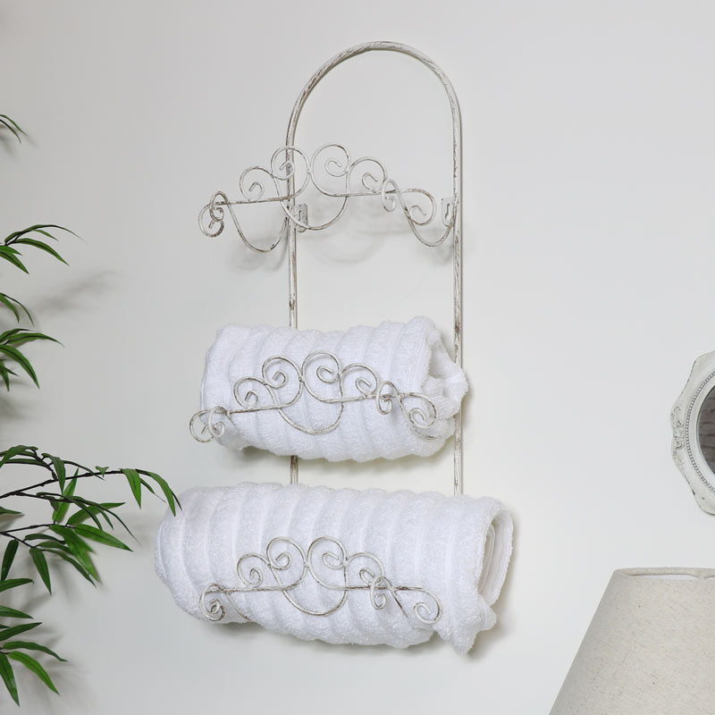 White Wall Mounted Metal Towel Roll Rail Holder Shabby