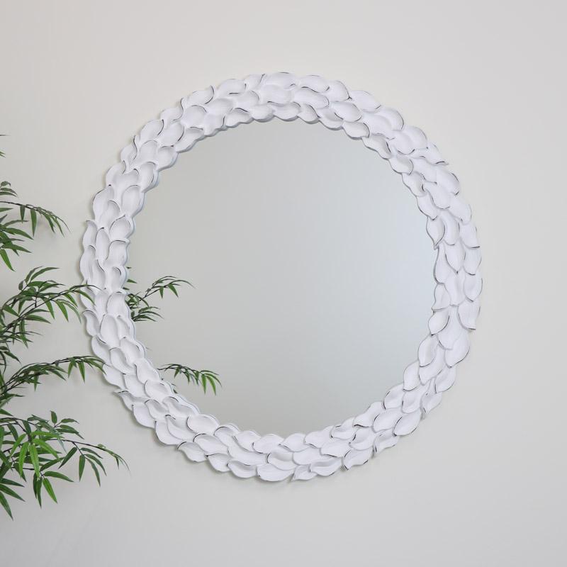 White Ornate Carved Wall Mirror 101cm x101cm