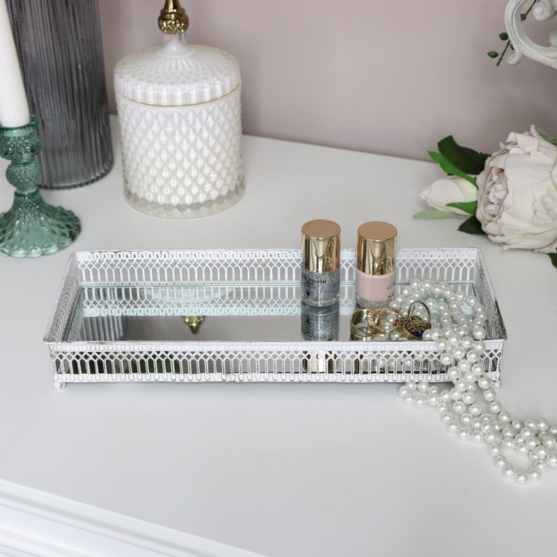 White Rectangle Mirrored Tray