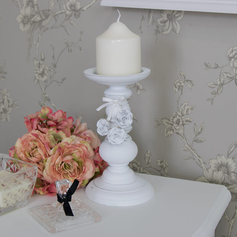 White Rose Candle Stand