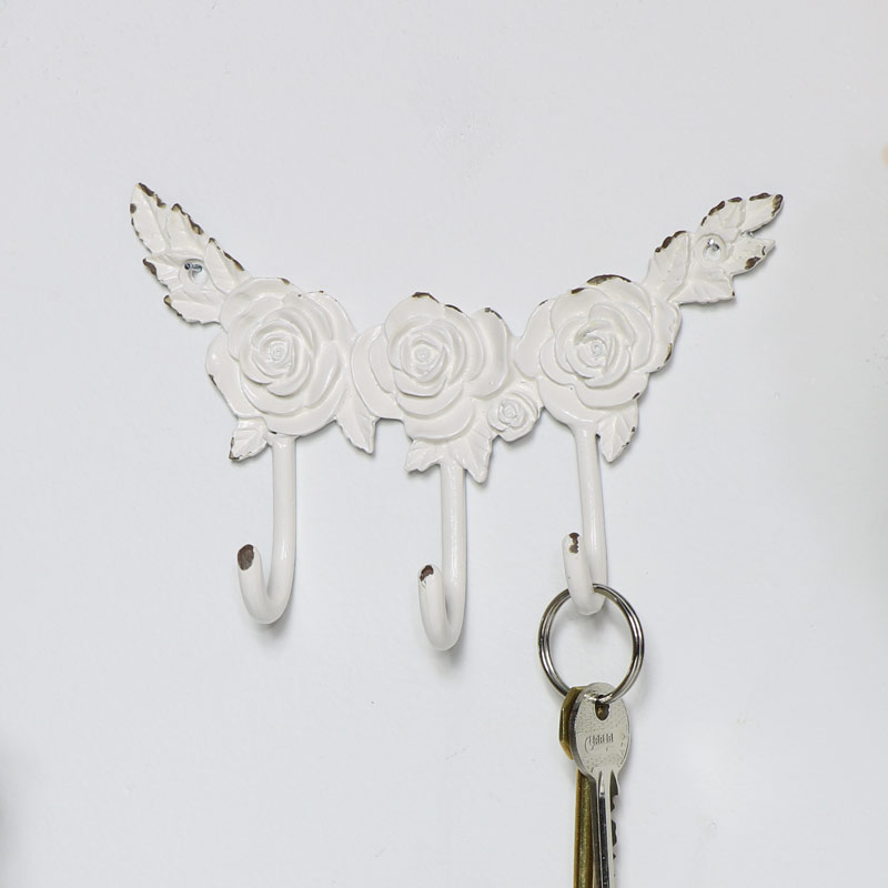 White Rose Wall Hooks