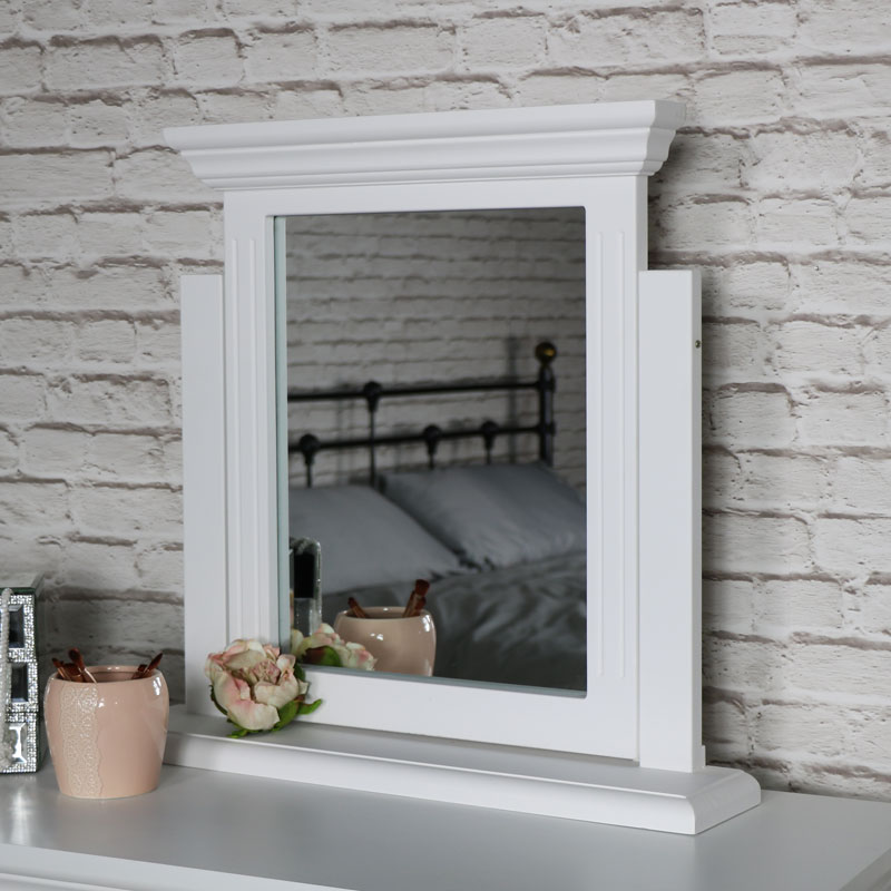 White Tabletop Vanity Mirror - Daventry White Range