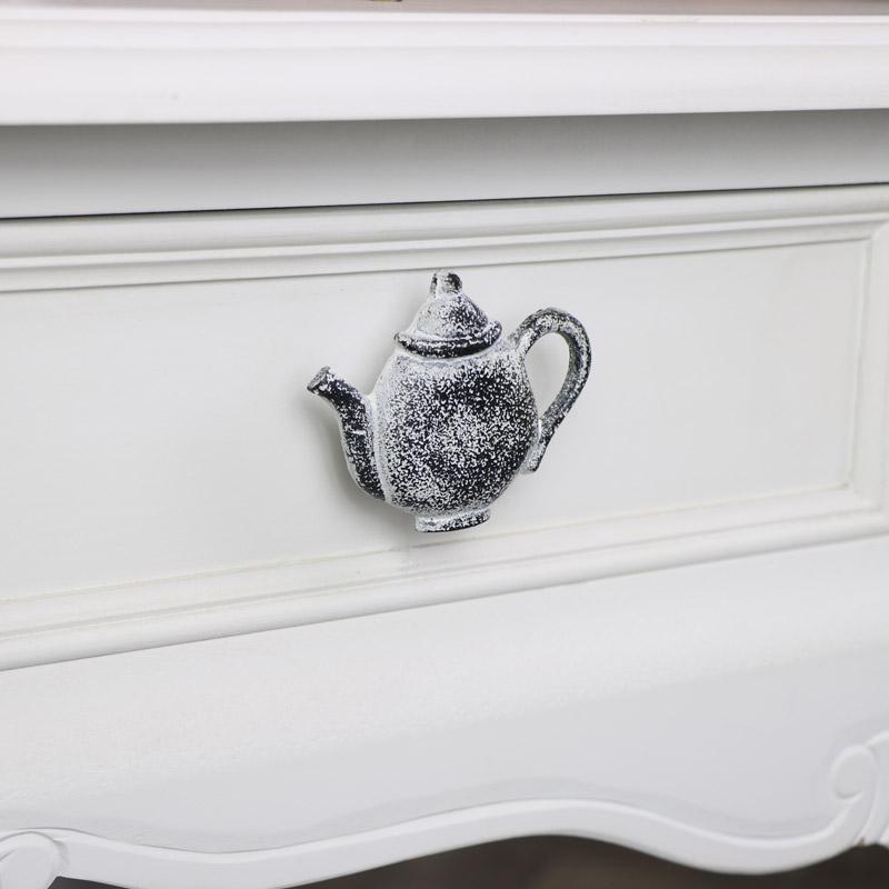 White Teapot Drawer Knob