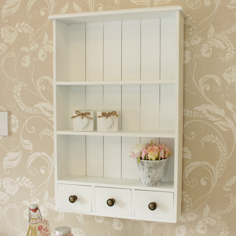 Kitchen Shelf Unit Uk: White Wooden Heart Wall Shelf Cabinet Vintage Style Home