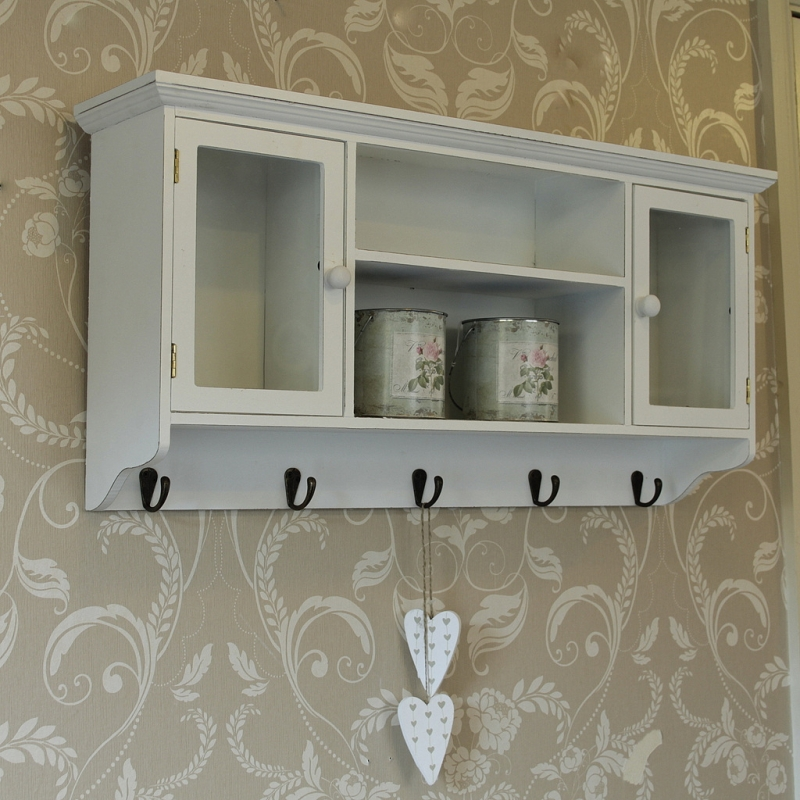 white storage shelf with cupboard and towel key hooks wall. Black Bedroom Furniture Sets. Home Design Ideas