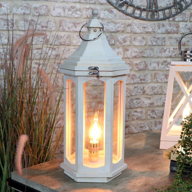 White Wash Lantern Table Lamp