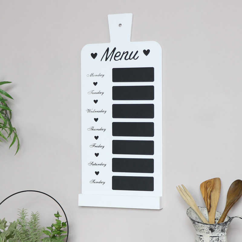 White Weekly Menu Chalk Board