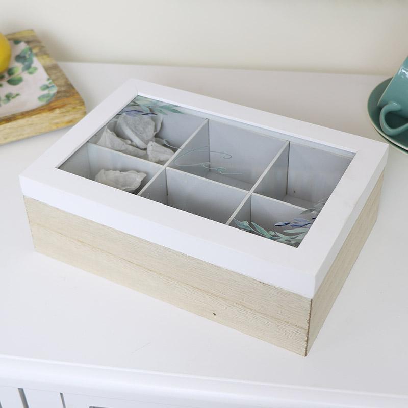 White Wood & Glass Olive Tea Box