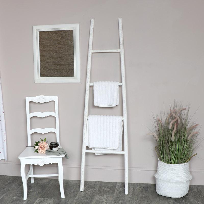 White Wooden Ladder Towel Rail