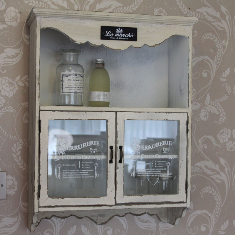 white aged wooden wall cupboard cabinet with shelf french. Black Bedroom Furniture Sets. Home Design Ideas