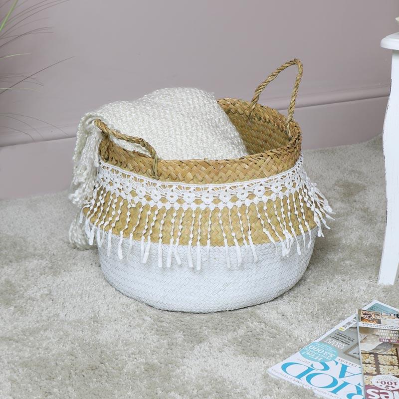 White Woven Lacy Storage Basket