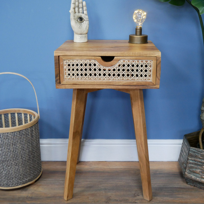 Wood & Cane 1 Drawer Bedside Table