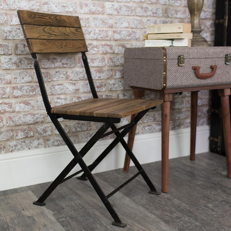 Wood & Metal Folding Chair
