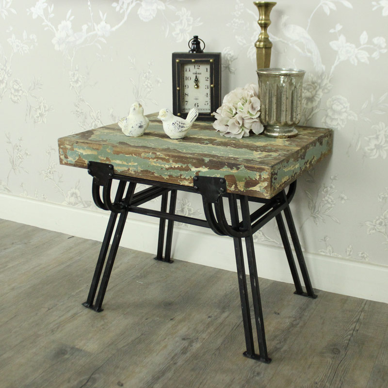 Living Room Table With Stools: Wood Metal Distressed Stool Side Table Shabby Chic Living