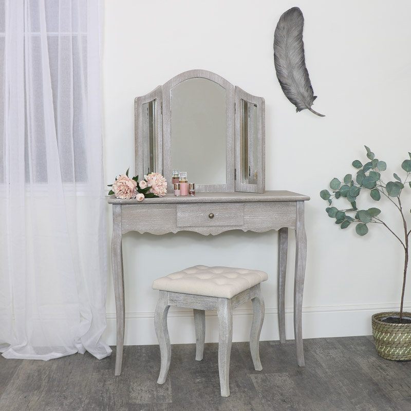 Wooden Dressing Table, Mirror & Stool - Temperley Range - SECOND