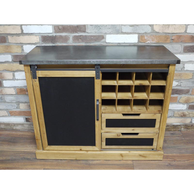 Wooden Industrial Style Wine and Glass Storage Cabinet with Drawers