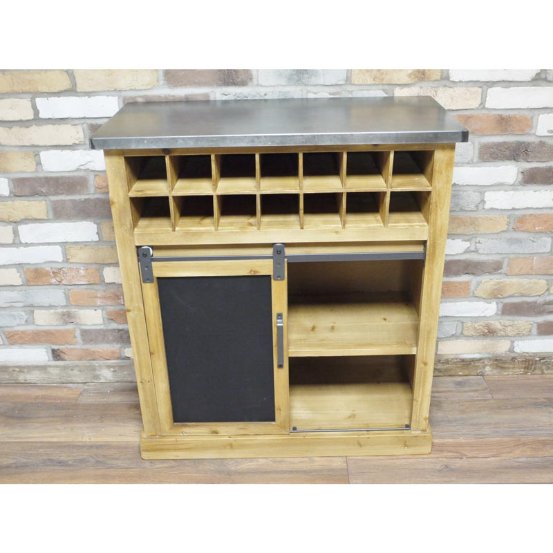 Wooden Industrial Style Wine Bottle and Glass Storage Cabinet