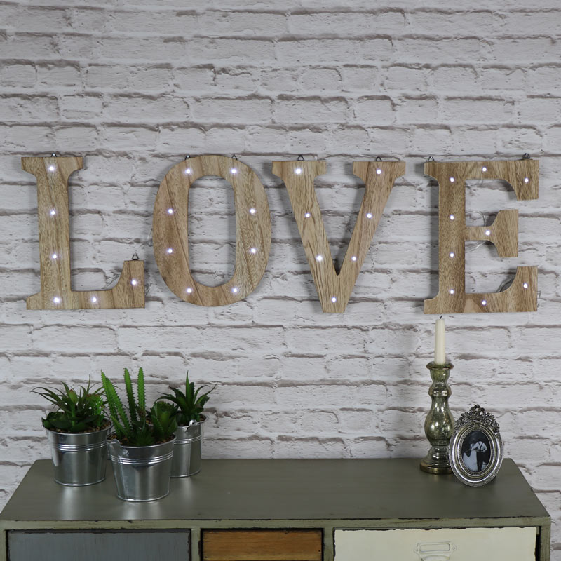 Wooden LED Light Up LOVE Sign