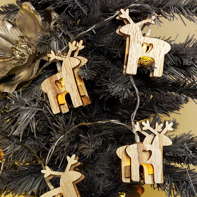 Wooden Reindeer Christmas Fairy Lights