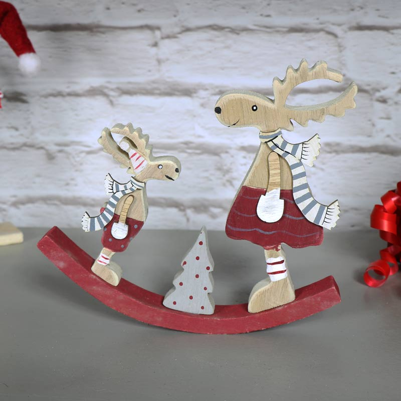 Wooden Rocking Reindeer Decoration