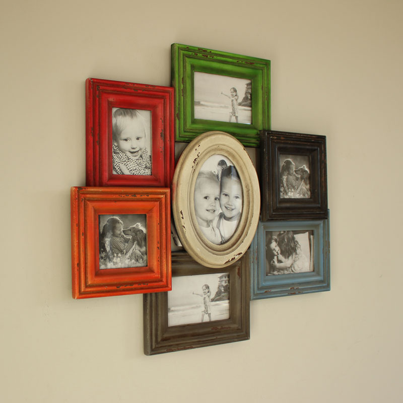 Wooden Wall Mounted Multi Coloured Photo Frame