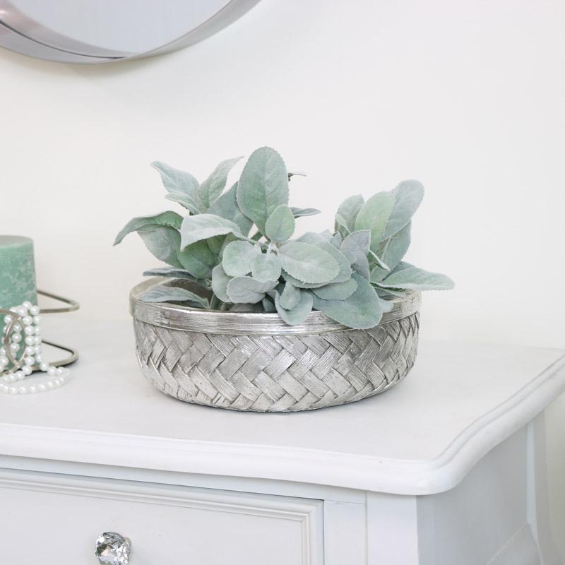 Woven Ceramic Silver Bowl