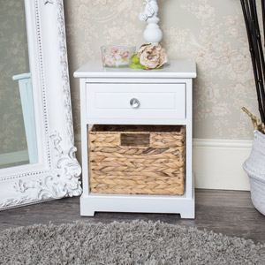 1 Drawer, 1 Basket Unit  - Salford Crystal White Range