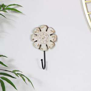 Rustic Wooden Flower Wall Hook