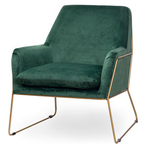Emerald Green & Gold Velvet Chair