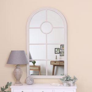Large Rustic White Arched Window Mirror 80cm x 140cm