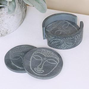 Grey Buddha Boho Soapstone Coasters