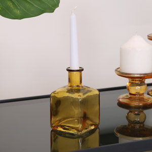 Glass Amber Bud Vase