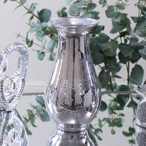Mottled Silver Mirrored Vase