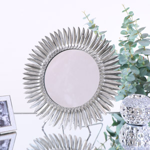 Antique Silver Feather Effect Vanity Mirror