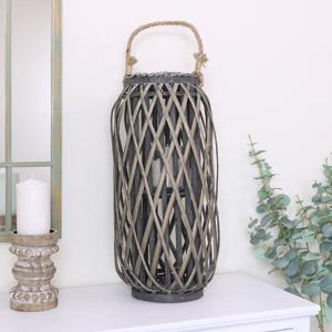 Tall Round Wicker Candle Lantern