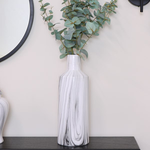 Tall Grey & White Marble Vase