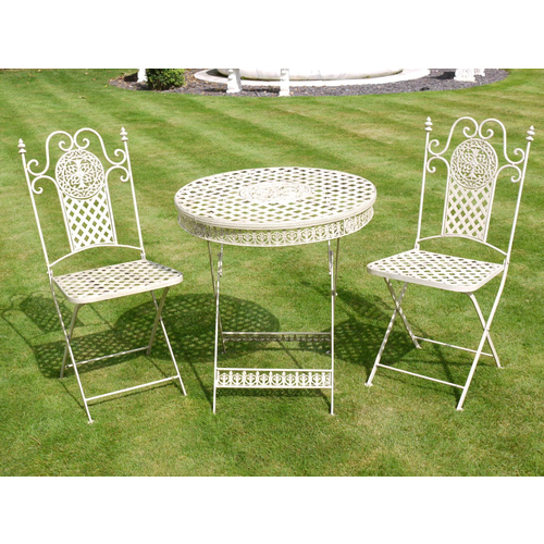 Antique White Metal Table and Two Chairs Garden Bistro Set