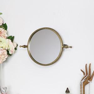Round Gold Adjustable Wall Mirror