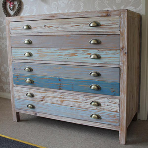 4 Drawer Wooden Blue Chest Of Drawers